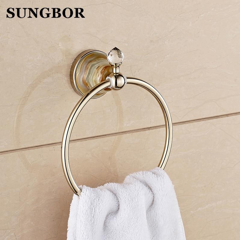 ФОТО GJade Series Gold Polished Brass Towel Ring With Jade/Marble Wall Mounted Towel Shelf Bathroom Accessories Towel Rings GJ-98806K