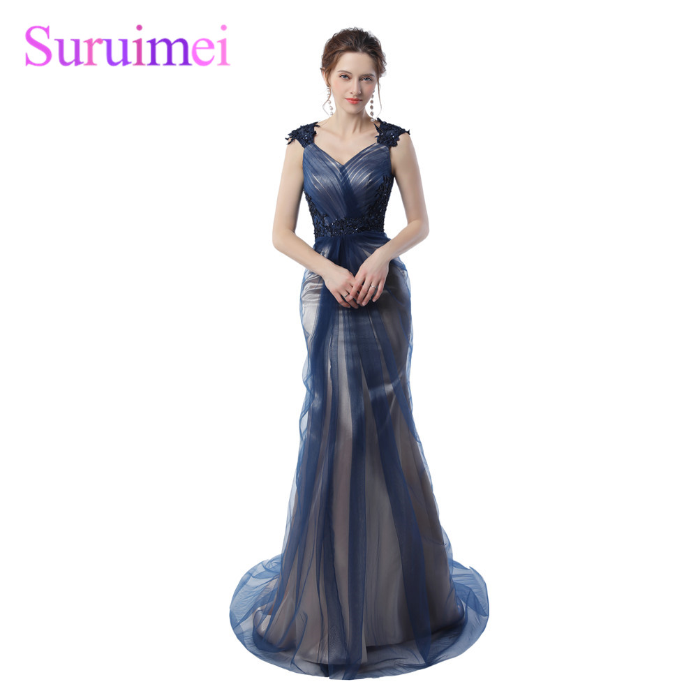 Real picture Navy Blue Mermaid Bridesmaid Gowns 2018 Grey Color Vintage Party Gowns Maid of Wedding Bridesmaid Dresses