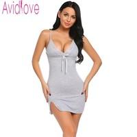 Avidlove Sexy Cotton Nightgown Women Sleeveless Strap Nightwear Sleepwear Female Lounge Wear Night Dress Home Sleepshirt