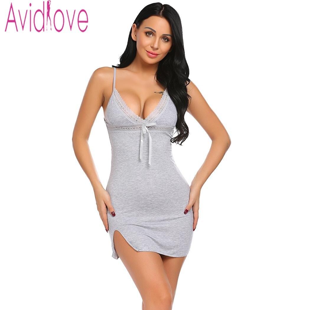 Avidlove Sexy Cotton Nightgown Women Sleeveless Strap Nightwear <font><b>Sleepwear</b></font> Female Lounge Wear Night Dress Home Sleepshirt Nighty