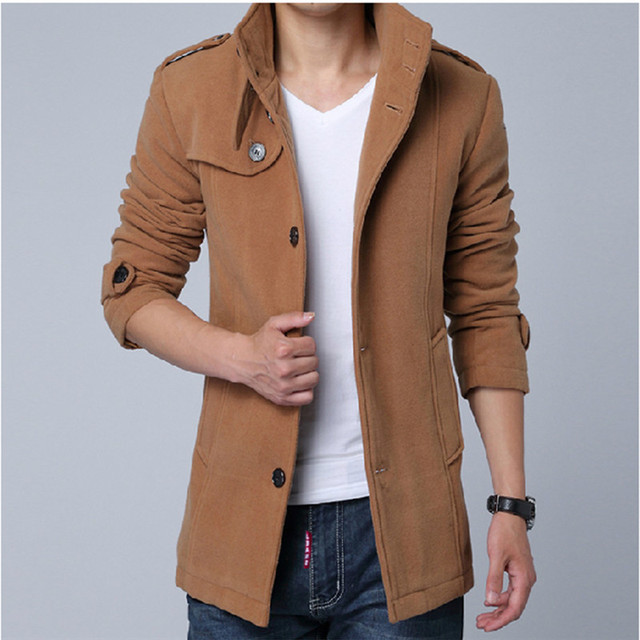 2016 Spring and Autumn men's casual coat men's woolen coat men's Korean Slim windbreaker plus small yards M-2XL