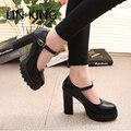 LIN REY Nuevo de Las Mujeres Bombas Otoño Punta Redonda Hebilla Botines de Plataforma Stiap Zapatos de Partido Atractivo Delgado Sólido de Alta Zapatos de Tacón Grueso Cuadrado