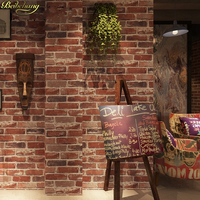 Beibehang 0 53x10m Retro Nostalgic 3D Stereo Brick Wallpaper Cafe Bar Restaurant Culture Stone Red Brick