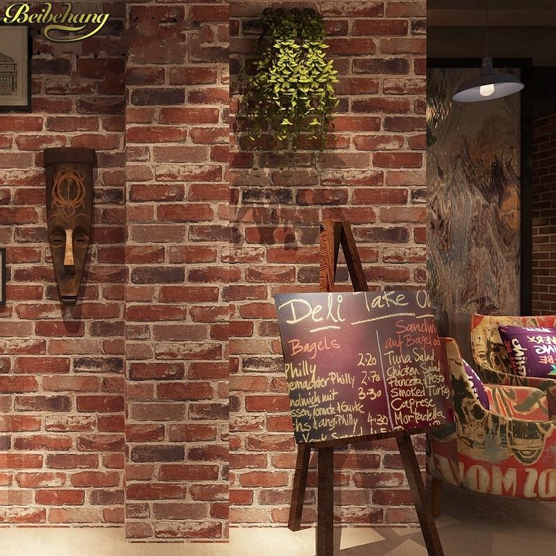 beibehang 0.53x10m Retro Nostalgic 3D Stereo Brick Wallpaper Cafe Bar Restaurant Culture Stone Red Brick Wallpaper