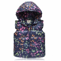 Winter Hooded Vests For Girls Outerwear Coats Animal Graffiti Thick Girls Vest Kids Jackets Baby Girl