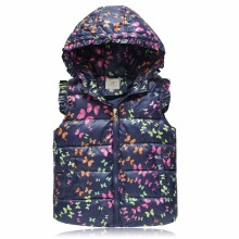 Winter Hooded Vests for Girls Outerwear Coats Animal Graffiti Thick Girls Vest Kids Jackets Baby Girl Warm Waistcoat Clothing