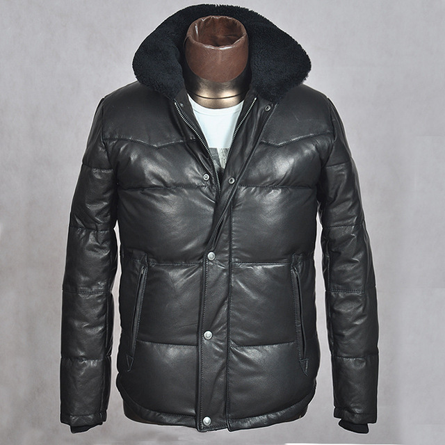 2b7ca68b135 Japanese brand winter white duck down leather jacket with wool collar for  men black sheepskin slim fit casual suede outersear