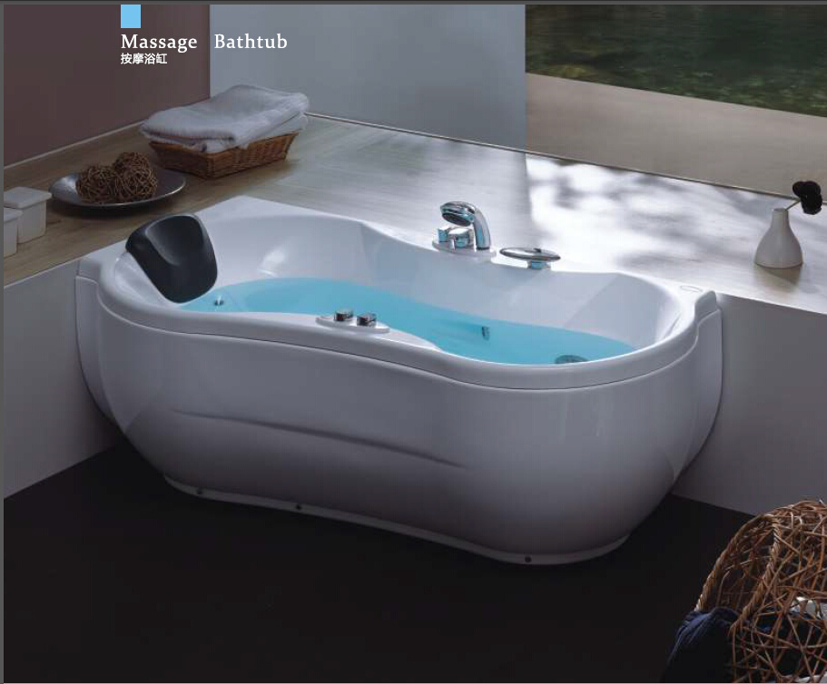 63' Sea Shipping Left Head Rest Whirlpool Bathtub Acrylic ABS Composite Board Piscine Curve