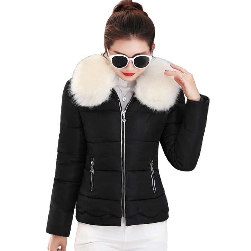 2019 New Arrival Winter Jacket Women With White Fur Collar Sweet Female Coat Outwear Short Padded Womens   Parka   Casaco Feminino