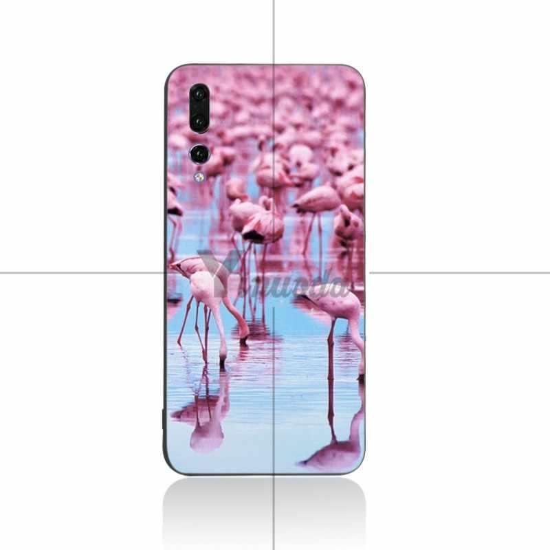 Yinuoda Animal Flamant Rose en silicone Souple Noir Téléphone étui pour huawei P9 P10 P10plus P20 P20pro NOVA2 honor9 honor10 V9 V10