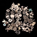 50pcs/lot Mixed Style Rose Gold Floating Charms For Jewelry Making DIY Bracelet & Necklace Pendant For Best Friend F2996