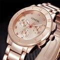 Famosa Marca de Relógios Montre femme Moda Genebra Assista Unisex Aço Inoxidável Rosa de Ouro Da Menina Das Mulheres de Quartzo Relógio de Pulso Por Atacado