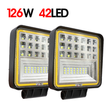 цена на Pair 4 Inch Offroad LED Work Light Bar 126W 42LED Spot Combo Beam Spotlight For Jeep ATV UAZ SUV 4WD 4x4 Truck Tractor