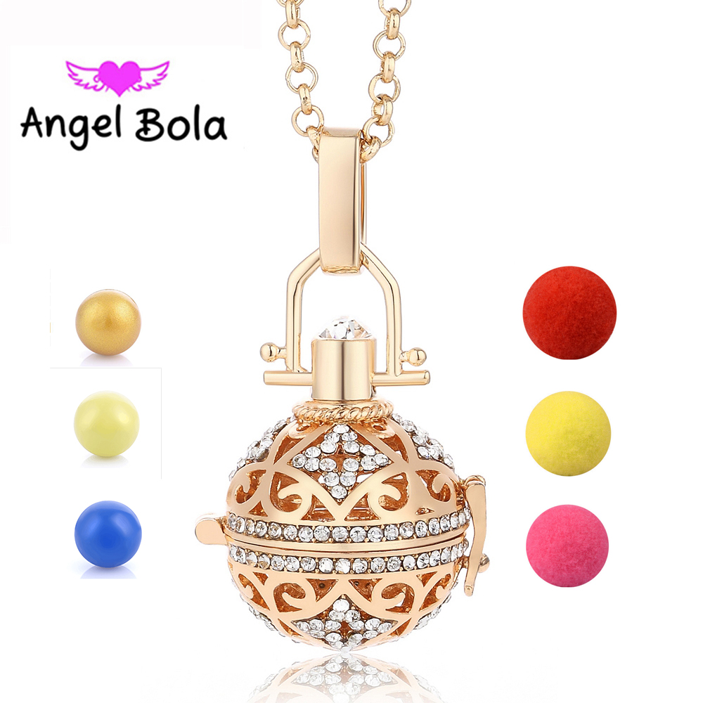 Angel Bola Perfume Aromatherapy Pendant Essential Oil Diffuser Cage Necklace Pendant for Women Gift Jewelry L064