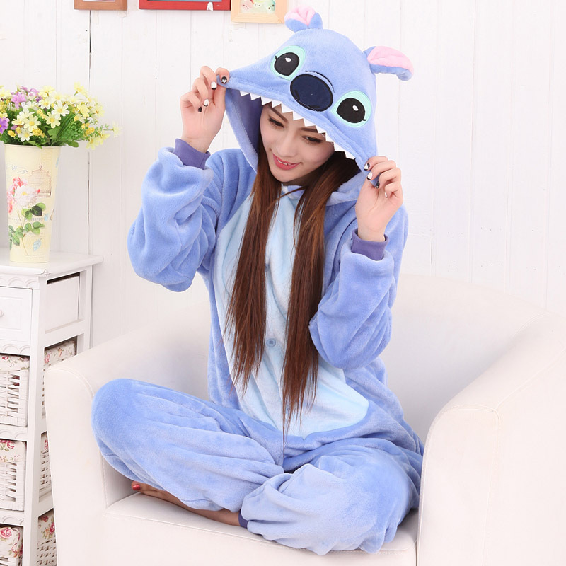 Cute New Fashion Women Cartoon Stitch Sleepwear Flannel Female Hooded Pockets   Pajama     Sets   Womens Lovely Females Students Full