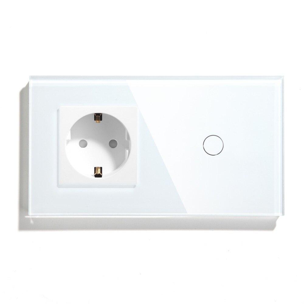 BSEED 16A Interrupteur Tactile 1 Gang 1 Voie et Norme EUROPÉENNE Schuko Double Interrupteur Mural avec Type Allemand Prise maison Smart Switch