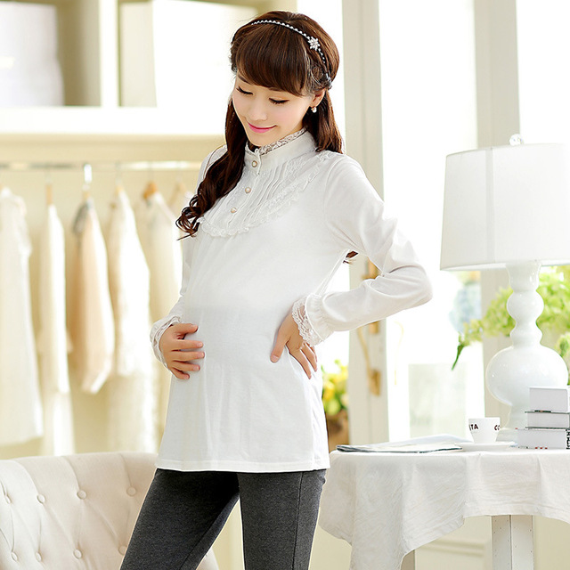 200f18e7c Cuello de Encaje elegante Camisas de Manga Larga Suelta Blusas de Maternidad  Ropa para Mujeres Embarazadas