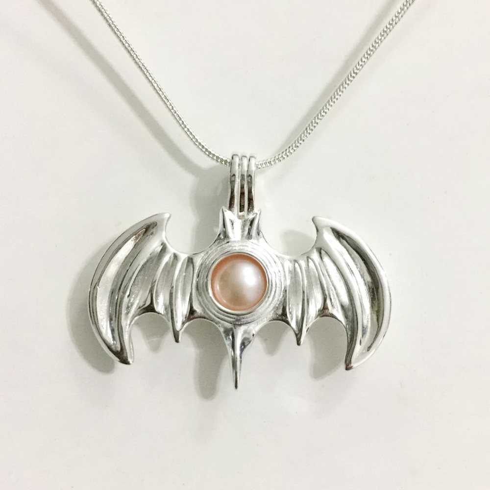 925 Sterling Silver Bat Pendant Locket, Can Open to Fit 8.5mm Bead Cage Jewelry Fitting, DIY Fashion Jewelry Making Charms locket