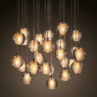 Ecolight Modern Lambaları Led Kolye Avize Işıkları Topları Şeffaf Kristal Küre Merdiven Loft Işık Fikstür LED Sarkıt