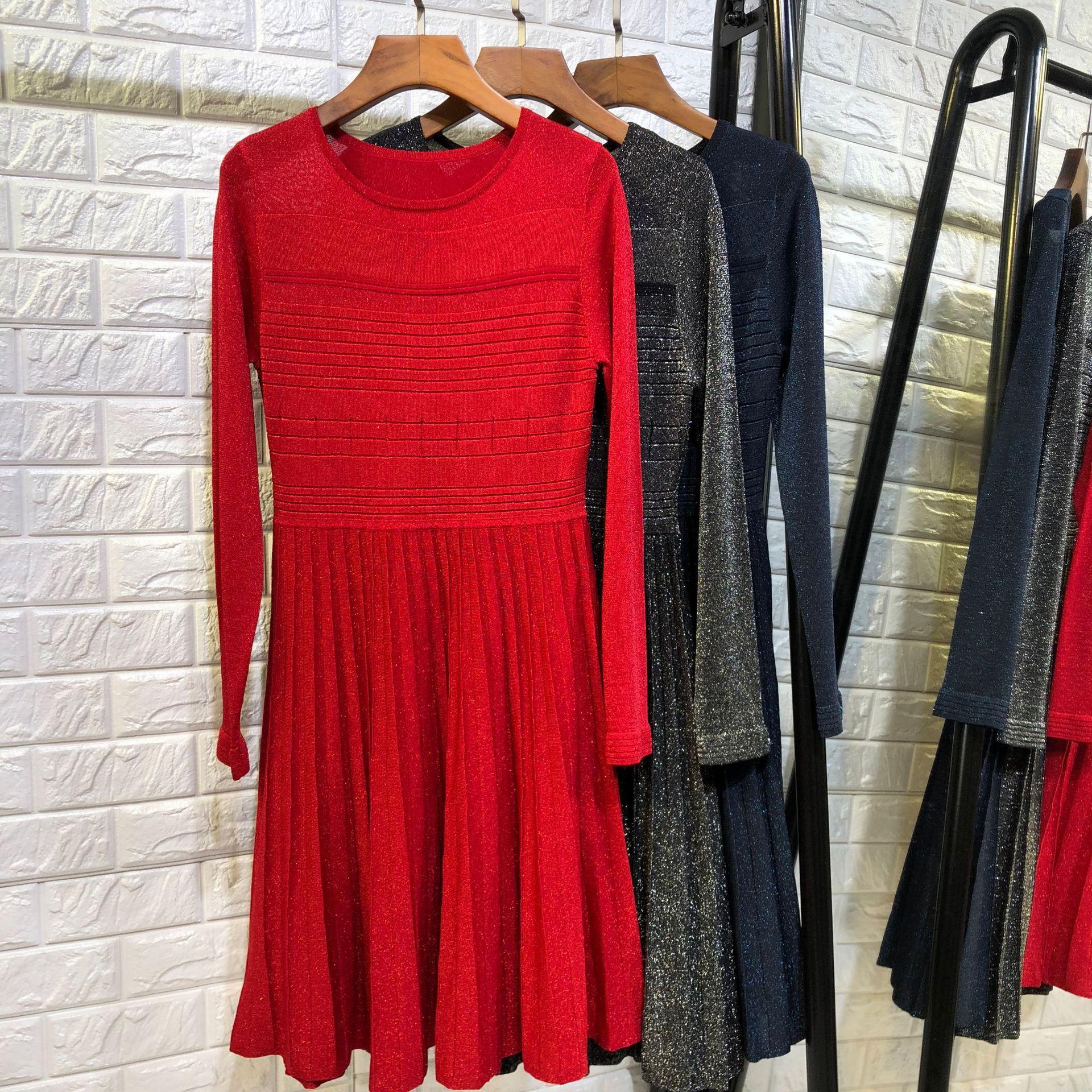 f8b951c1578 Women fashion elegant lurex knit sweater dress long sleeve jacquard fit and  flare christmas dresses new