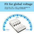 New White Home Smart Advanced Indvidual LED Battery Charger NiMH AA AAA  Material ABS + PC fire proof  Retractable UK plug