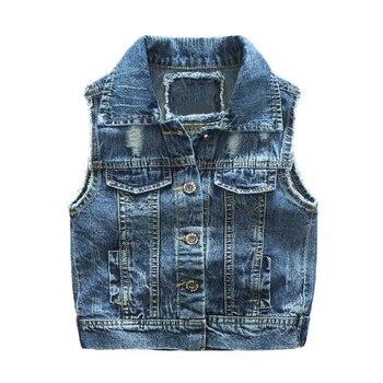 93e3b8072 Nuevo chaleco de mezclilla para niño primavera otoño estilo de agujero roto  ropa de chaleco para niños chaqueta de Jeans para 2-7 T prendas de vestir  ...