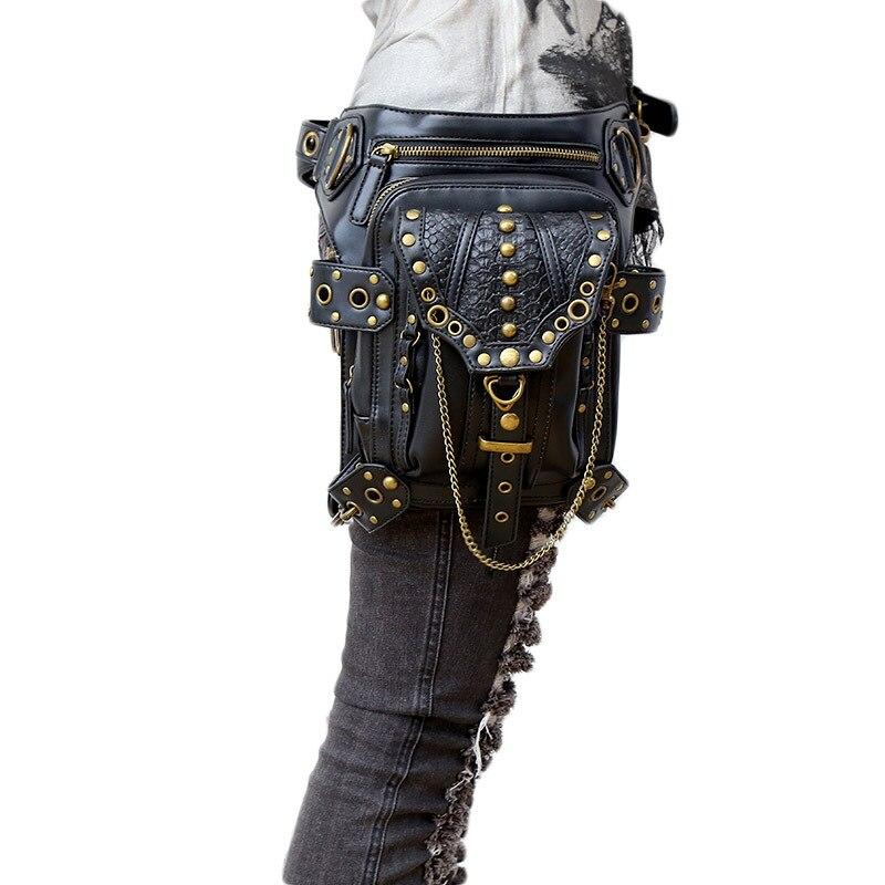 Fashion Gothic Steampunk Skull Retro Rock Bag Men Women Waist Bag Shoulder Bag Phone Case Holder Vintage Leather Messenger Bag lanspace men s leather shoulder bag real leather waist bag fashion leather travel bag