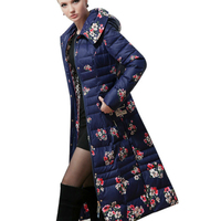 2017 High end Luxury Slim Printing Down Jacket Thickened Length Female Over Knee Long Women Winter Coat