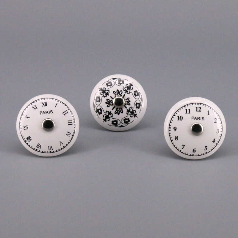 1x Vintage Style Clock Face Knobs Ceramic Kitchen Cabinet Knobs Porcelain Cupboard Wardrobe Door Handle Pulls Pottery Knobs