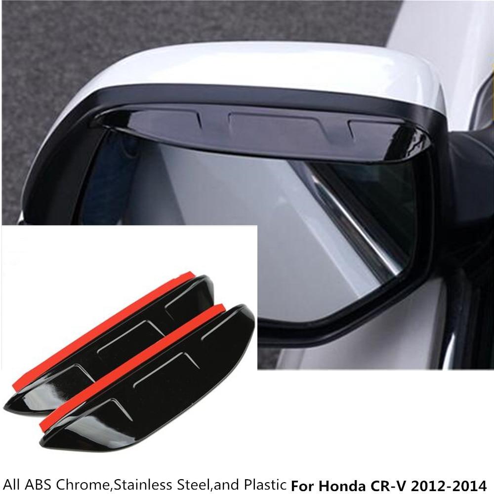 Hot car rear rearview side glass mirror trim frame rain shield sun visor shade eyebrow 2pcs for honda crv cr v 2012 2013 2014