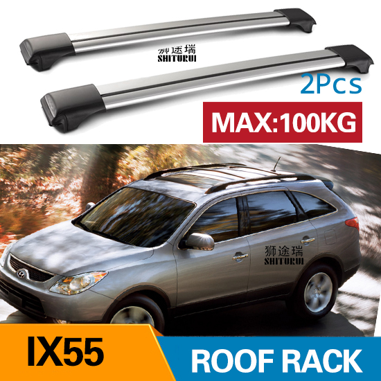 2Pcs Roof bars For HYUNDAI IX55 2008 - 2017  2012Aluminum Alloy Side Bars Cross Rails Roof Rack Luggage CUV SUV LED2Pcs Roof bars For HYUNDAI IX55 2008 - 2017  2012Aluminum Alloy Side Bars Cross Rails Roof Rack Luggage CUV SUV LED