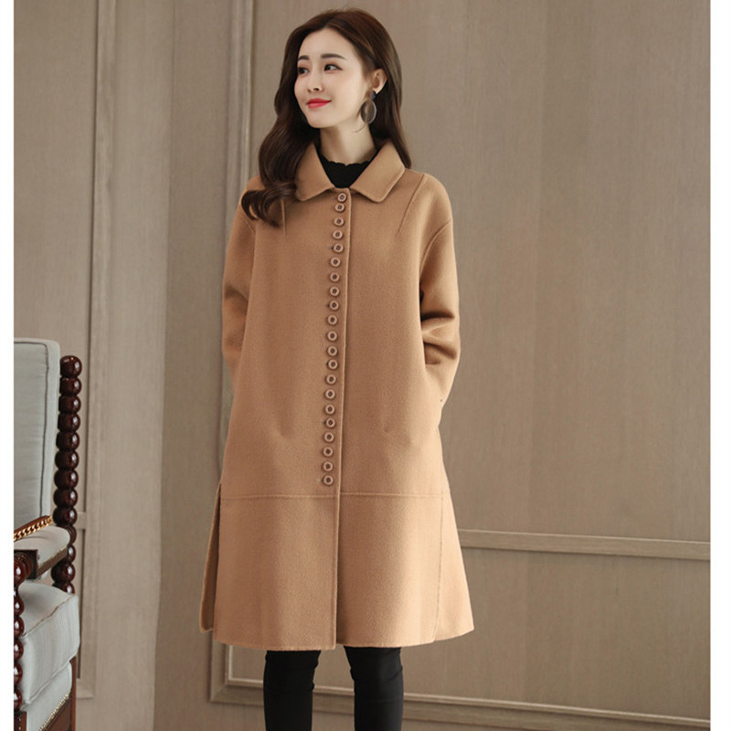 Bleu Camel Laine Manteau D'hiver 2018 Marine camel Long Coréenne La Mode Chaud Vintage Manteaux Taille Femme Plus Dames qRBvwaq