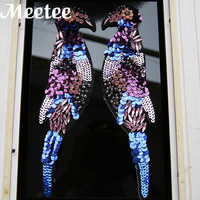 One Pair 27 7cm 3D Embroidered Patches Sequins Bead Applique Clothes Shoes Hat Sewing Patches DIY
