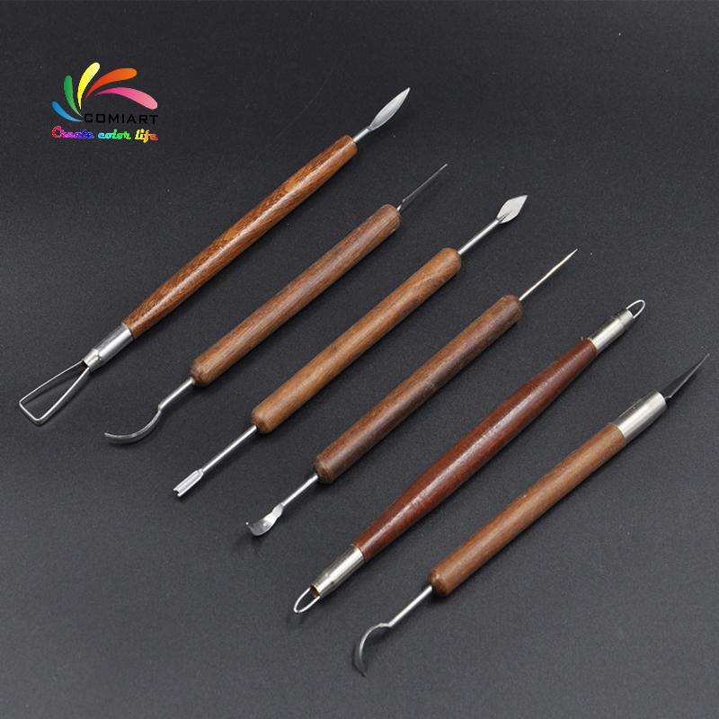 6PCS Clay Modelling Tools set Wooden Clay Sculpture Wax Carving Pottery Tool LC