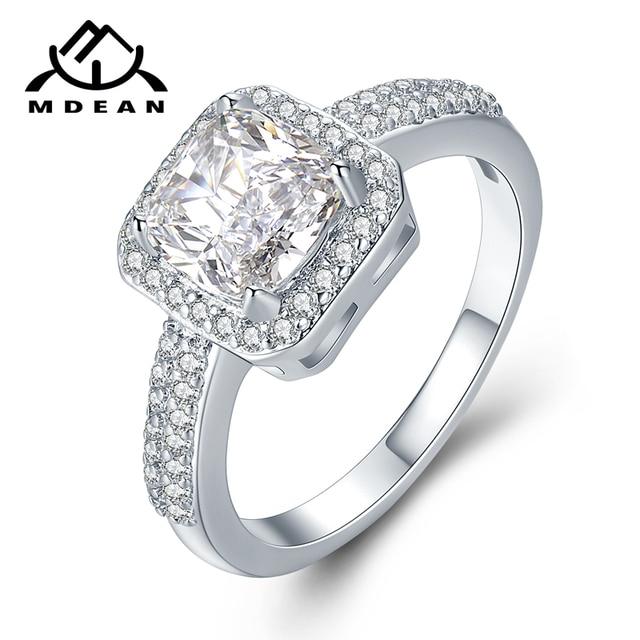MDEAN White Gold Color Rings for Women Engagement Wedding Cleaar AAA Zircon Jewe