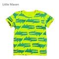 Pouco Maven Crocodilos Novos Meninos Verão Fresco Dos Desenhos Animados Verde Curto O Pescoço Marca de Qualidade do Algodão Crianças Tshirt