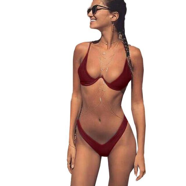 47f7940ac095 € 6.56 36% de DESCUENTO|Bikini sólido 2018 nuevo Tanga de corte alto traje  de baño mujeres de cintura alta traje de baño brasileño Biquini natación ...