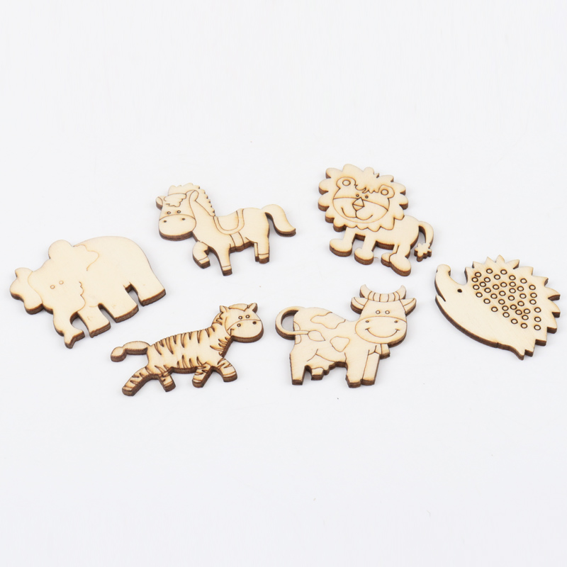 Natual Animal Pattern Wooden Scrapbooking Art Collection Craft For Handmade Accessory Sewing Home Decoration 40mm 20pcs