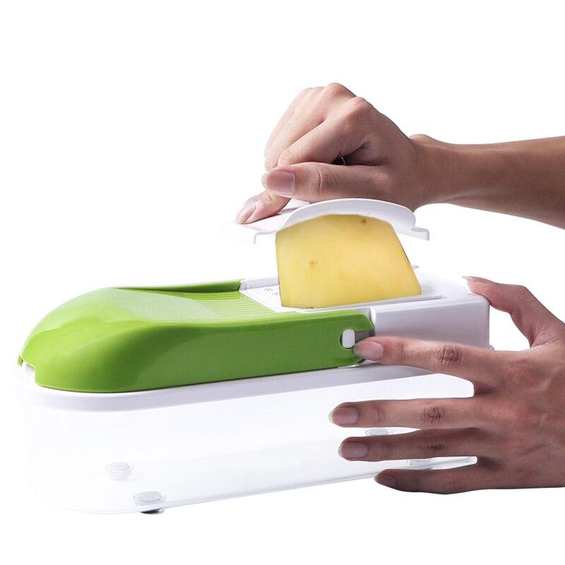 Ручной нож из нержавеющей стали Овощной кухонный инструмент Многофункциональный сменный ломтик овощерезка зеленый+ белый