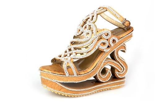 The new manual diamond high heeled wedge font b sandals b font for font b women