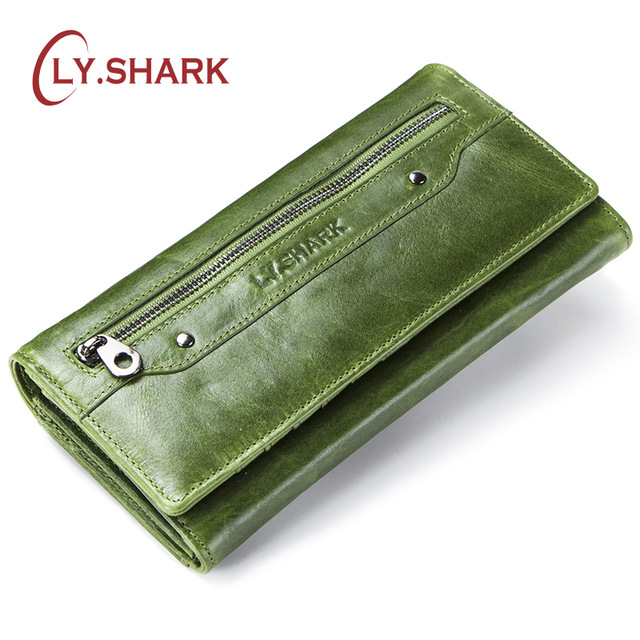 LY.SHARK Genuine Leather Wallet Women Coin Purse Clutch Ladies Credit Card Holder Phone Money Bag Women Wallet Long Green Walet