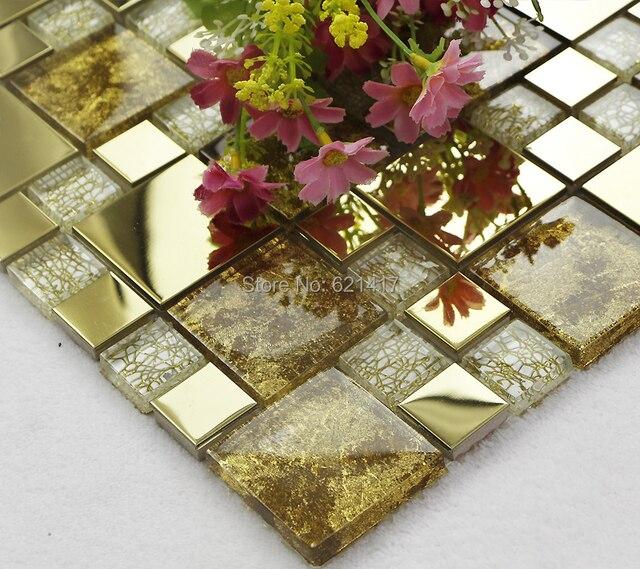 Glod Drachen Galvanik Metall Kristall Glasmosaik Fliesen HMGM1090 Backsplash  Küche Wandfliese Aufkleber Badezimmer Bodenfliesen