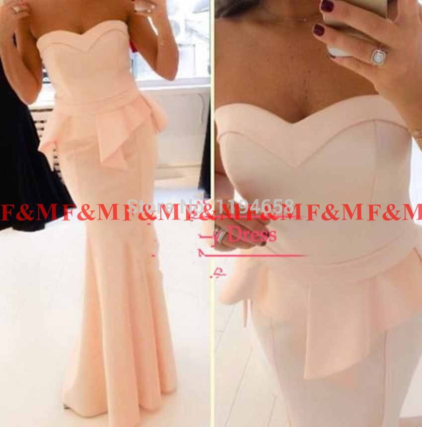 2016 New Fashion Sweetheart robe de soiree Long Prom font b Dress b font Mermaid Peach