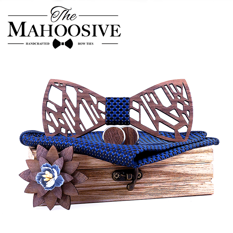 Original Wood Design Men's Bow Tie Blue Spotted Necktie Bowtie Artificial Leather Bow Tie Brooch Wooden Box Wedding Party Gift