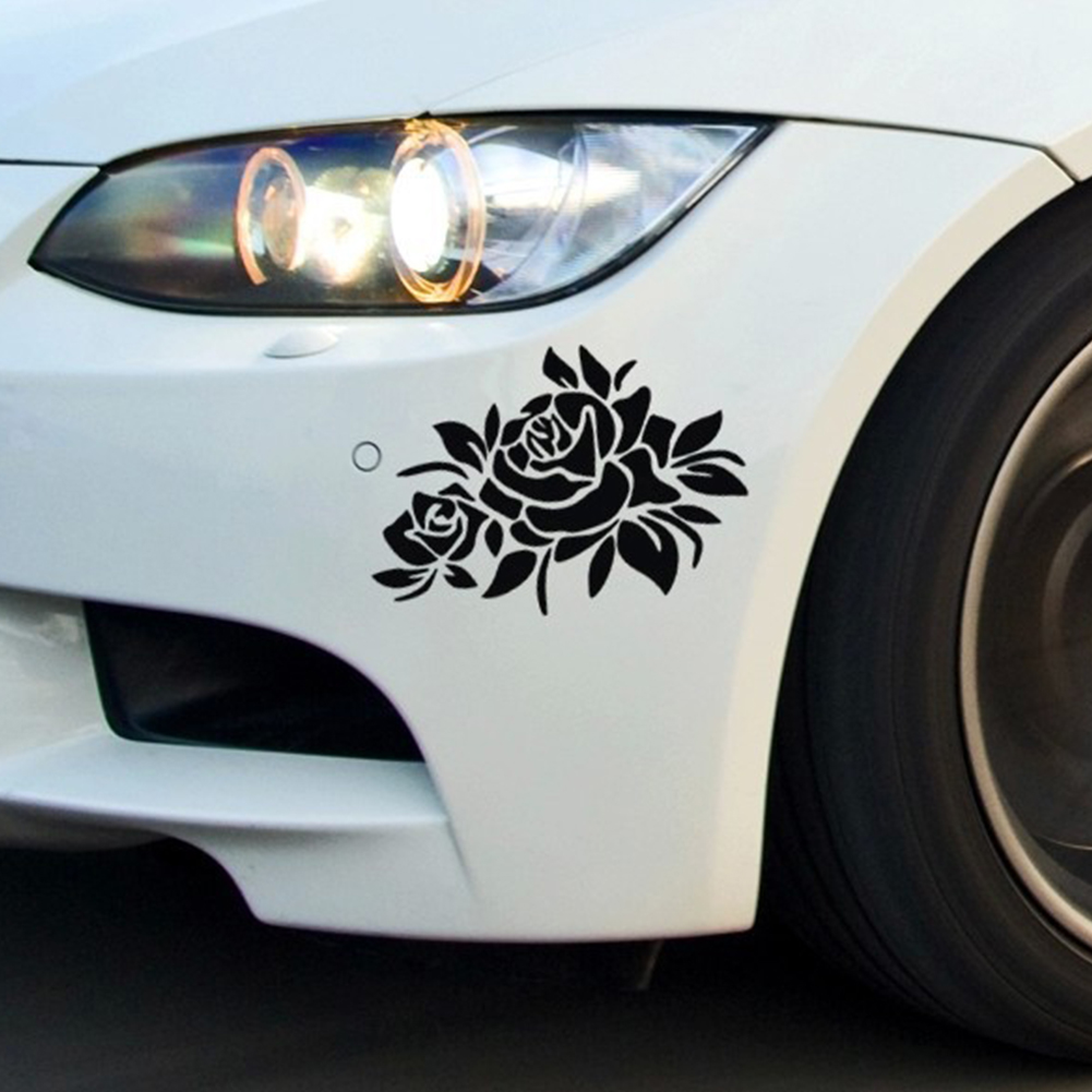 Car sticker design for white car - New 1pcs Flower Car Sticker Bumper Window Decal And Cover Car Scratches Sticker Car Styling