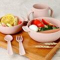 5 pics/set bebé niños vajilla platos learnning cup ayudar food bowl cup cuchara tenedor perfecto conjunto de fibra de trigo la salud y la seguridad
