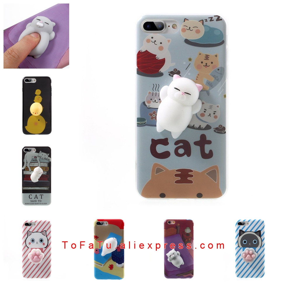 Squishy Cat <font><b>Phone</b></font> Case for iPhone 6 6s 7 7 Plus Kawaii Cute Soft Silicon TPU Shell Squeeze <font><b>Squish</b></font> Slow Rising Jumbo Fidget Toy