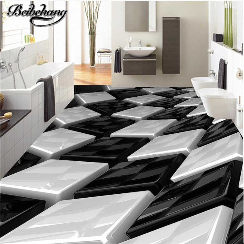 beibehang Custom floor drawing 3D stereo black and white three-dimensional box creative floor living room bathroom decoration