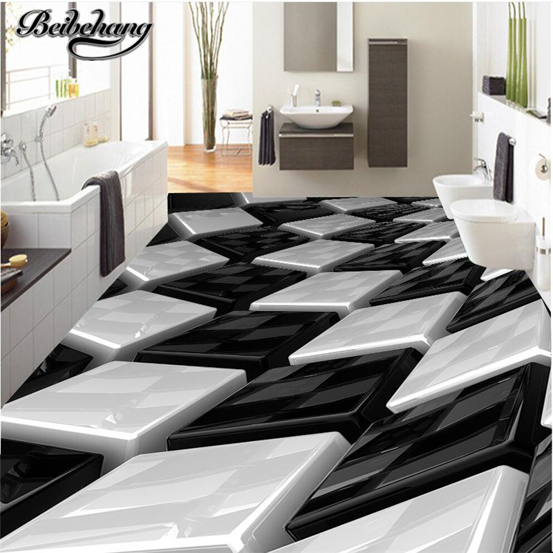 beibehang Custom floor drawing 3D stereo black and white three-dimensional box creative floor living room bathroom decoration face recognition using three dimensional and multimodal images