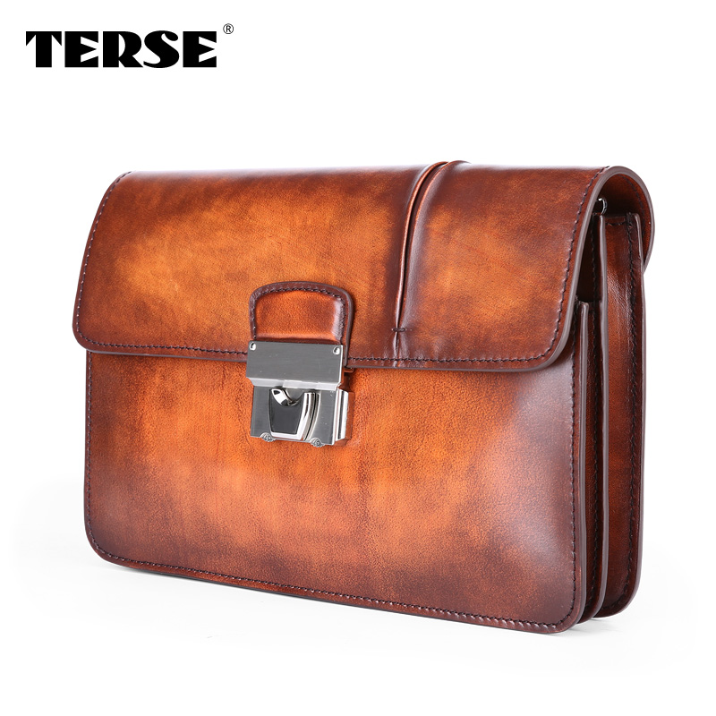 TERSE Hasp Antique Clutch Bag font b Men b font Business Hand Bag Genuine Leather font